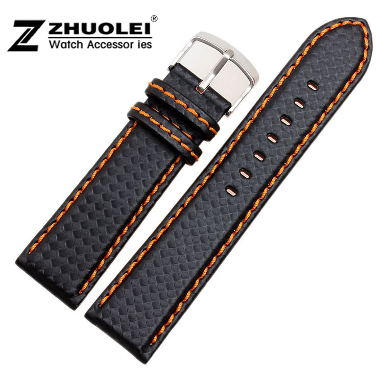 20mm 21mm 22mm 23mm 24mm  Watch Band Carbon Fibre Watch Strap With Orange Soft Leather Lining Stainless Steel Clasp new arrival watch band carbon fibre watch strap with leather lining stainless steel clasp free shipping