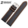 20mm 21mm 22mm 23mm 24mm  Watch Band Carbon Fibre Watch Strap With Orange Soft Leather Lining Stainless Steel Clasp