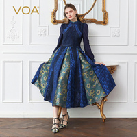 VOA Silk Jacquard Brocade Pleated Dress Women Plus Size 5XL Tunic Slim Floral Print Lantern Long Sleeve Vintage Navy Blue A172