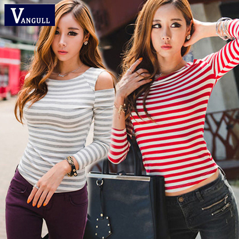 The best wardrobe New 2016 T Shirt Hot Women Top Fashion High Street Modal Off Shoulder O Neck T-Shirt for Woman Striped Pattern Black Gray Red