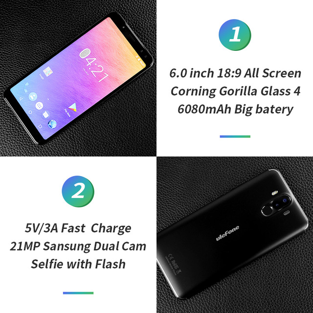 In stock!Ulefone Power 3 6.0″18:9 Full Screen 6080mAh MT6763 Octa Core Face ID 21MP Four Camera 6G 64G Android 7.1 Mobile phone
