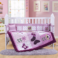 4 шт. вышивка хлопка лист детская кроватка постельных принадлежностей для мальчиков девочек детская кровать детская кроватка комплект, Включают ( бампер + + лист + подушку )