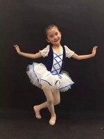 New Ballet Tutu Dress For Girls Lace Short Sleeve Velvet Kids Leotard Ballet Dance Dress Dancewear