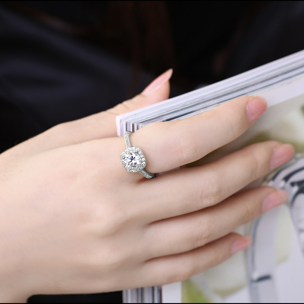 Fashion Rings Silver Color White Zircon Inlayed Crystal Ring Elegant ...