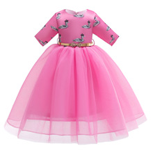 все цены на 2019 New Muslim children's skirt Middle East girls dress Malaysia children's mesh long skirt swan print sleeves children's skirt онлайн