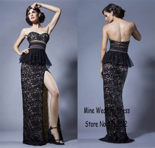Sweeteart elegante rüschen high side slit lange abendkleider Schwarz Spitze Schlank Abendkleid vestido de baile longo Partei