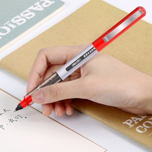 Image 3 - Deli 3 adet lot doğrudan sıvı tükenmez Tungsten karbür boncuk kalem öğrenci siyah kalem 0.5mm jel kalem S656