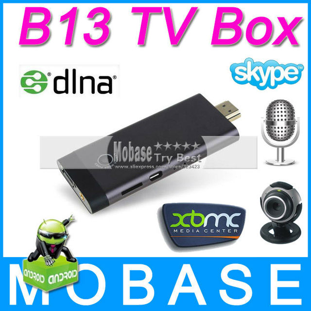 B13 Android TV Dongle Google Android 4.1.1 Skype Online Calling Webcam Mic Bluetooth RK3066 Dual Core 1G/8G AV Output HDMI WiFi