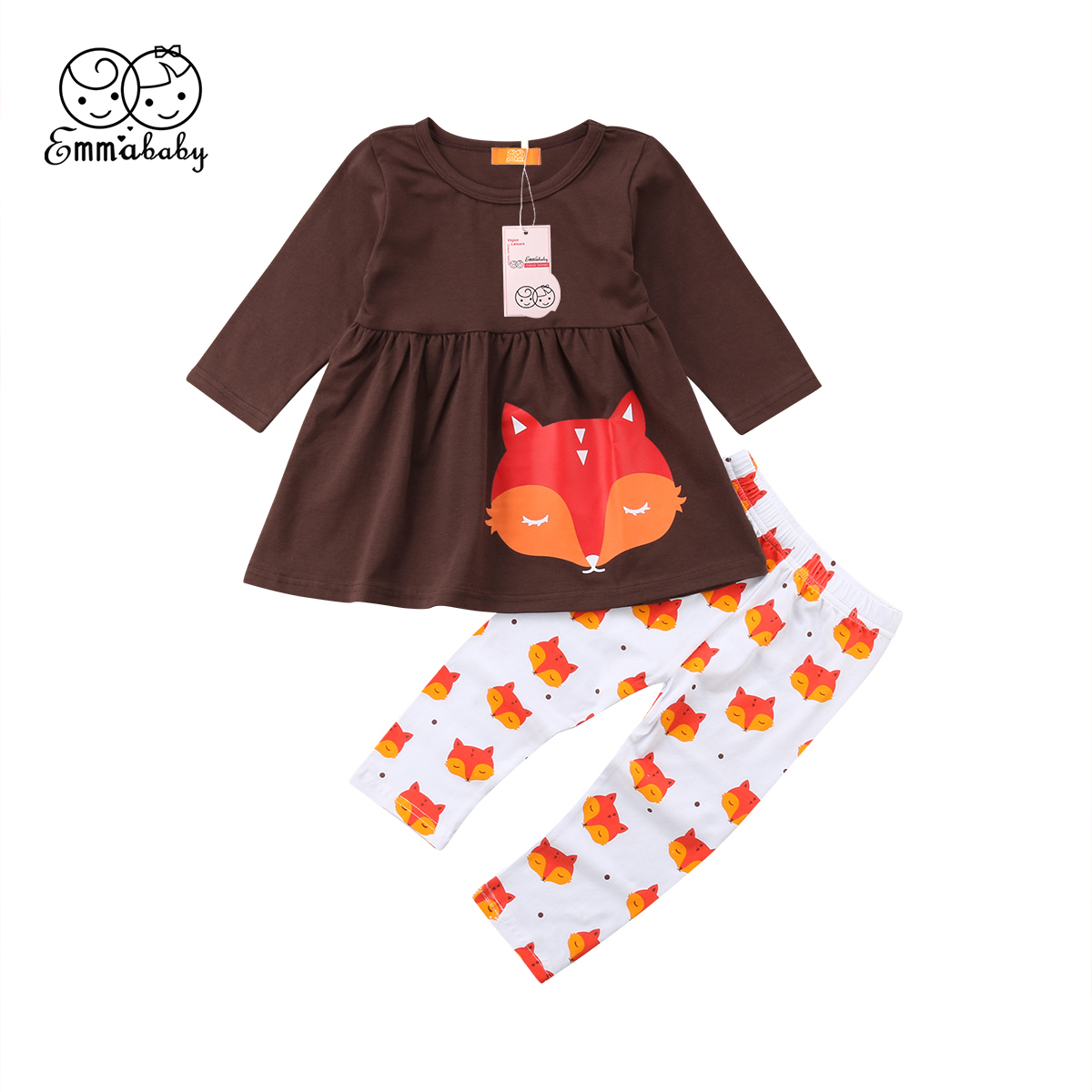 2PCS Fox Outfits Sets Toddler Kids Baby Girl Outfits Clothes Long Sleeeve T-shirt Top Dress+Leggings Pants Casual Clothes Sets