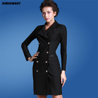 Europe Office Lady Dresses 2016 Fall Long Sleeve Double Breasted Striped Suit Dress Womens Sexy Slim