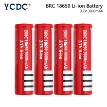 1/2/4Pcs RED BRC 18650 Pointed Top Rechargeable Batteries 3.7V 3000mAh Lithium Battery For Charging Li-ion Cell Torch