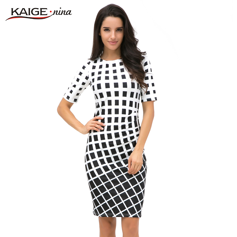 Kaigenina New Sale Womens Summer Elegant Tartan O Neck Tunic Wear