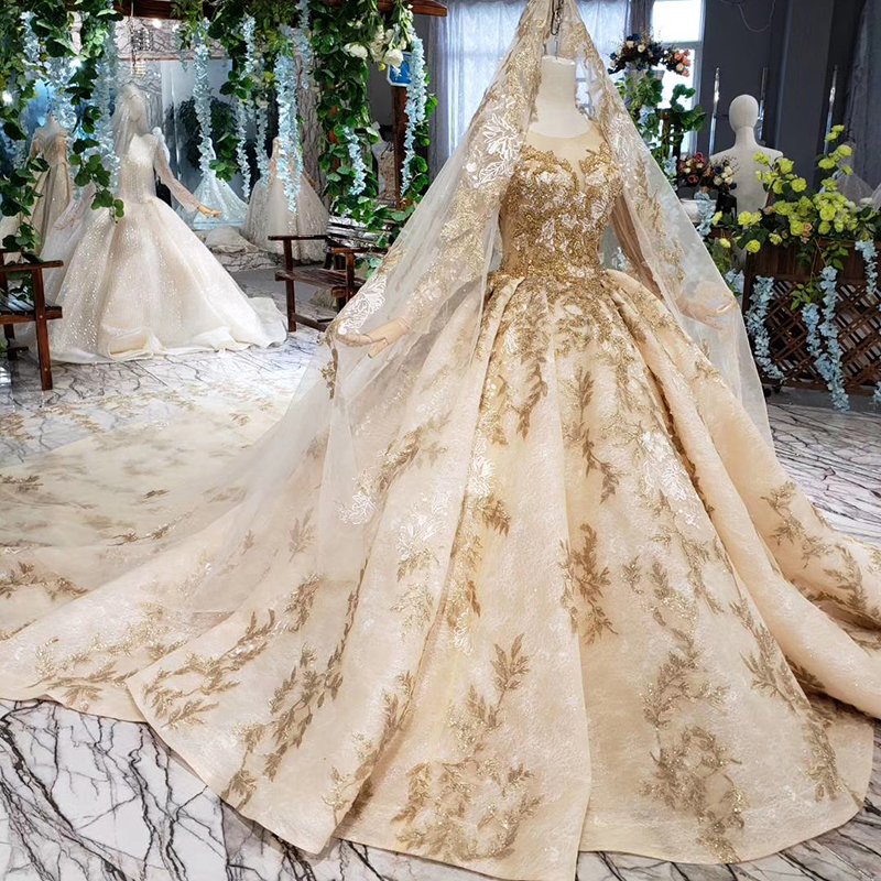 Image 3 - HTL393 luxury golden lace wedding dress with wedding veil o neck long sleeve v back princess bridal dresses golden beads mariage-in Wedding Dresses from Weddings & Events