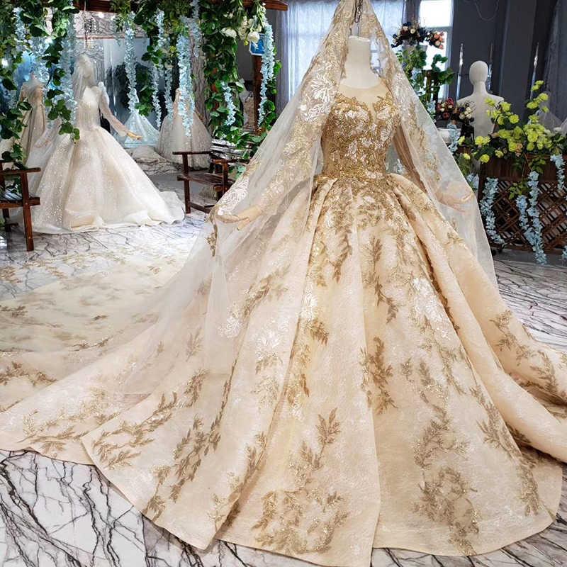 HTL393 роскошное Золотое кружевное свадебное платье с вуалью для свадьбы, круглый вырез, длинный рукав, v-образный вырез, свадебные платья принцессы, золотые бусы, для свадьбы