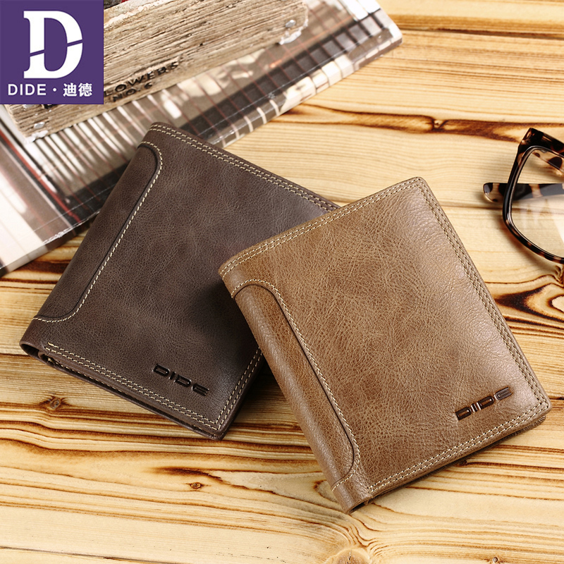 DIDE Genuine Leather wallet Fashion Design Men Coin Purse High Quality Male Card ID Holder Drop shipping Chinese famous brand hot sale 2015 harrms famous brand men s leather wallet with credit card holder in dollar price and free shipping