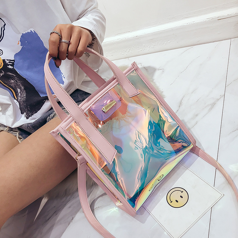 New Fashion Women Hologram Laser Handbag Transparent Candy Shoulder Bag Waterproof Beach Bag for Women Travel Shopping Bags