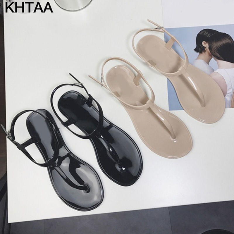 2ec40ed2c474 New Women T Strap Flat Ankle Buckle Thong Sandals Female Gladiator Flip  Flops Summer Beach Casual