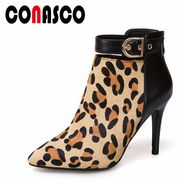 101281059f7 CONASCO Zipper Women Sexy Leopard Ankle Boots High Heeled Horse Hair  Genuine Leather Martin Shoes Woman Ladies Night Club Pumps