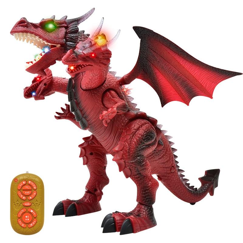 La educación de la primera infancia niños RC juguete luz historia de baile eléctrico de control remoto de dinosaurio, tres en la cabeza del Dragón de juguete - 2