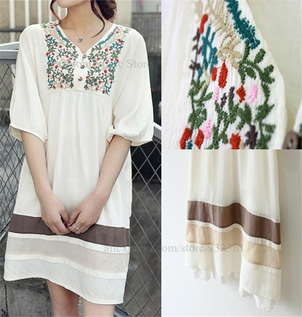 Vintage 70s Mexico Flower Embroidery V Neck Mini Dresses BOHO Blouse Women Dress XL