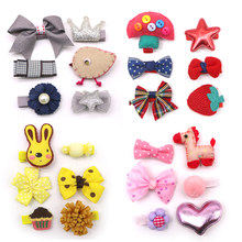 5 Set=30pcs Lovely Baby Fabric Bow Flower Headwear Children Girls Cute Hairpins Barrettes Beauty Hairdressing Accessories(China)