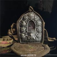 TGB169 Tibet vieux laiton Antique boîte de Prière Tibétain Chanceux Babao GAU Mâle Boîte Amulette Tibétain artisanat
