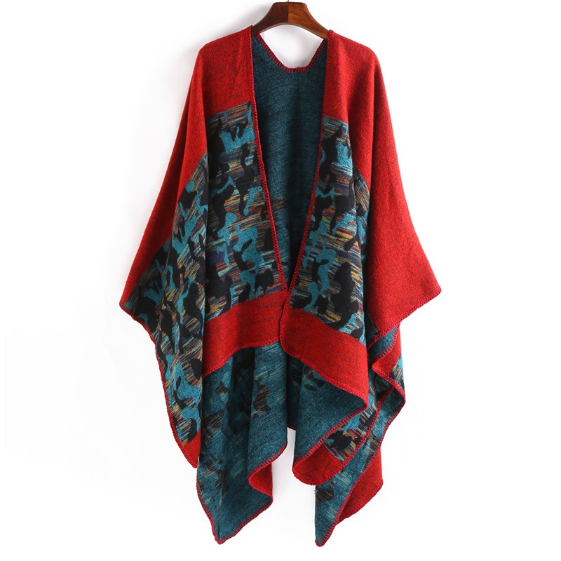 2017 Winter Multi Color Warm Pashmina Cashmere Women Poncho New Fashion Shawl And Wrap Oversized 130*160cm Scarves And Stoles