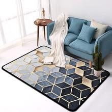 Современная мода металла золотой ковер черный Геометрическая спальня двери ковер для гостиной tapete модные декоративный коврик