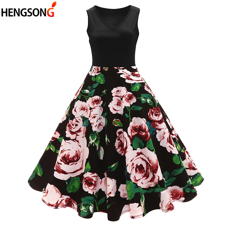 2018 New Elegant Women Pleated Dress Summer Vintage Dress 70'S 80'S Floral Print V-Neck Sleeveless Party Dresses Vestidos