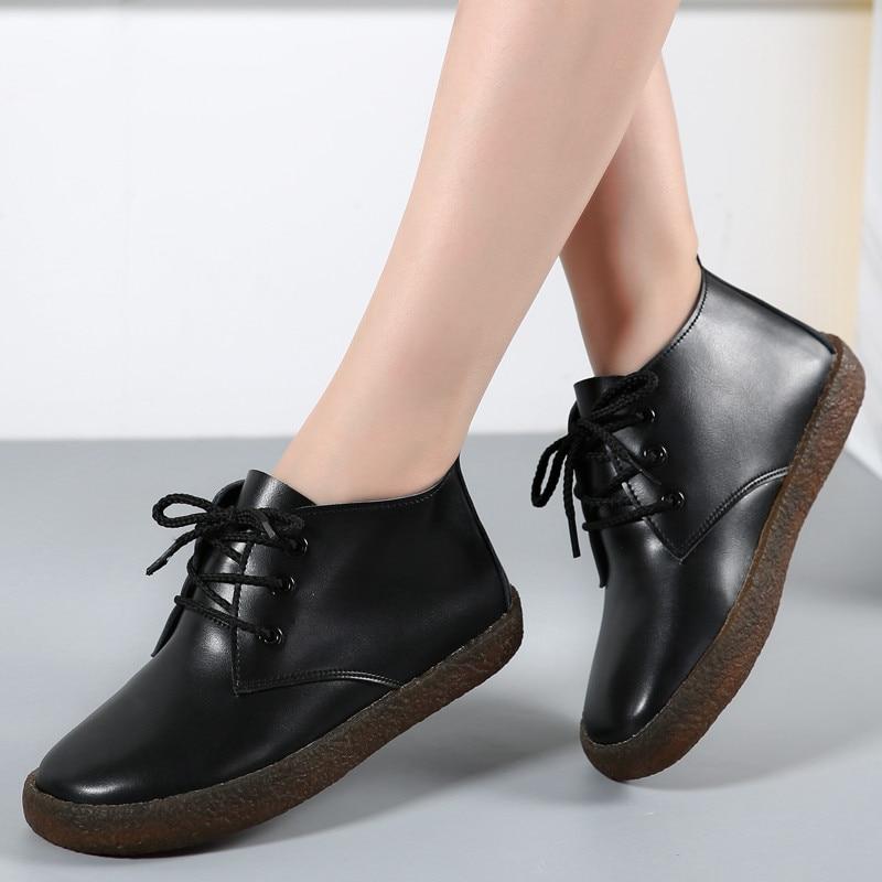 COOTELILI Ankle-Boots Flats-Shoes Autumn White Botas Genuine-Leather Women Plus-Size