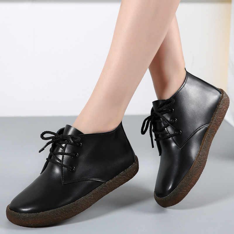 COOTELILI Sonbahar Hakiki Deri yarım çizmeler Kadınlar Için Flats Ayakkabı Kadın Rahat Botas Beyaz Siyah Artı Boyutu 41 42 43