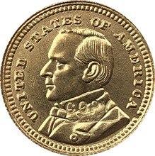 24-k gola-chapeado eua 1903 1 dólares francos moeda cópia 15mm
