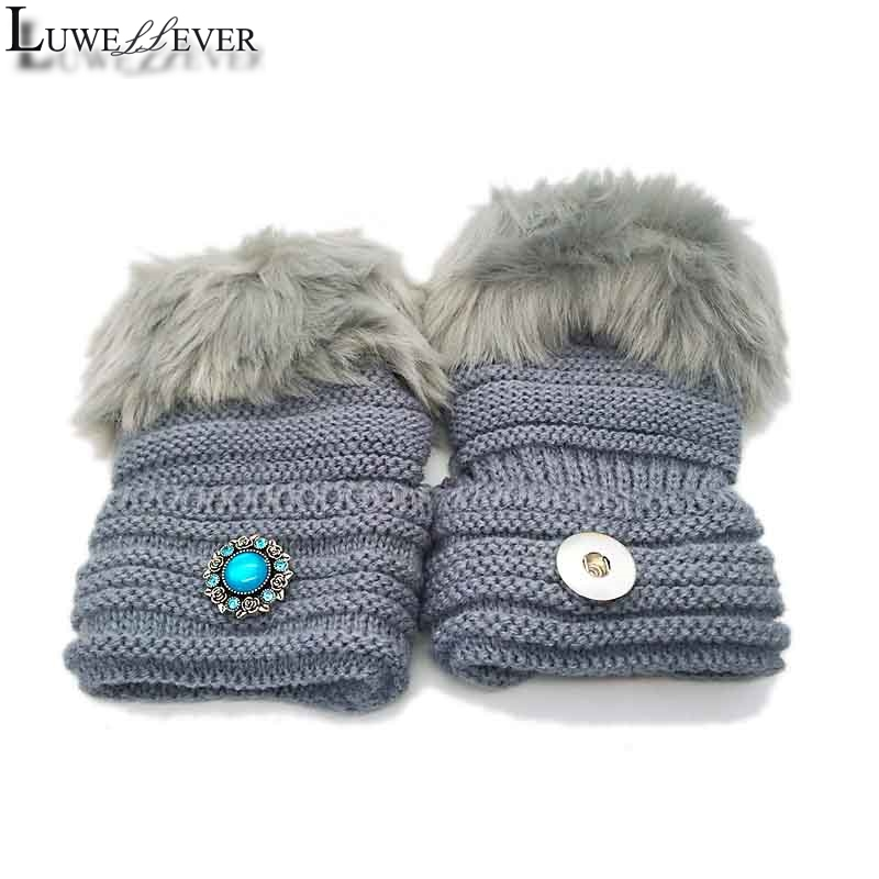 Winter Fingerless Gloves 005 Fit 18mm Snap Button Fashion Accessories Charms Jewelry For Women Teenagers Girl Christmas Gift