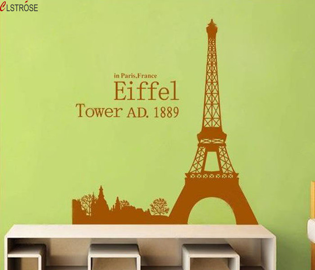 CLSTROSE Rushed Romantic Paris Tower Wall Art Sticker Beautiful View ...