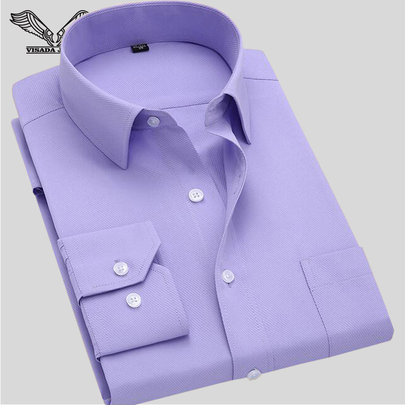 Long Sleeve Slim Men's Business Shirt 2016 Autumn New Fashion Designer High Quality Solid Male Fit  Formal Dress Shirt 4XL N351