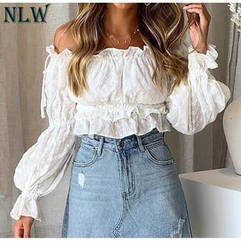 b25438357b6d NLW сексуальная с открытыми плечами Slash шеи женские короткие топы и  блузка ...