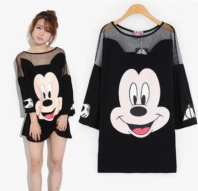 Women black T shirt mesh patchwork long t shirt mickey cartoon print summer t shirts tops runway femme tops oversize Large size