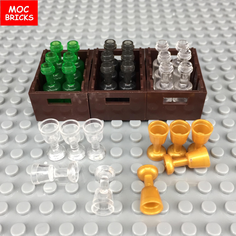 MOC Bricks Utensil bottle trans green black white 95228 Gold &Trans clear Chalice Cup  fruit basket DIY toy Building Blocks gift Кубок