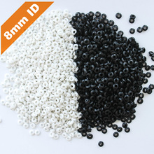 200pcs 8mm Inner Diameter Black White Dual Side Open Hole Plug Cable Wiring Rubber Protector Ring Seal Grommet Gasket