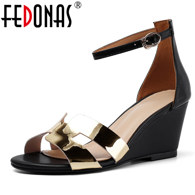 FEDONAS Women Fashion Pumps Genuine Leather High Heels Summer Party Shoes Woman Buckle Strap Cover Heel Casual Wedges Sandals