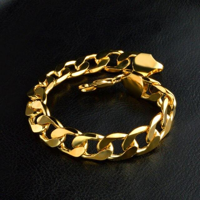 Тяжелый широкий figaro золотой браслет мужской 12 мм 21 см золото-цвет  большой толстый браслет 62463a1a0eb