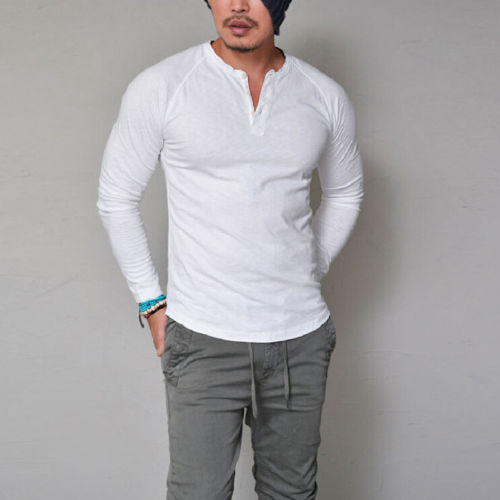 Mens Cotton Muscle T-Shirt Slim Fit Tee Long Sleeve V Neck Tops Casual Blouse