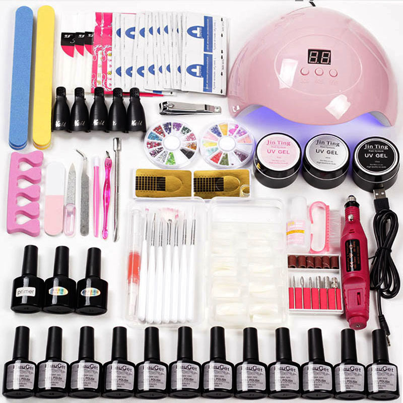 Маникюрный набор, 12 цветов, гелевая Акриловая Сушилка для ногтей, светодиодная УФ лампа для ногтей, электрическая ручка для маникюра, набор инструментов для наращивания ногтей