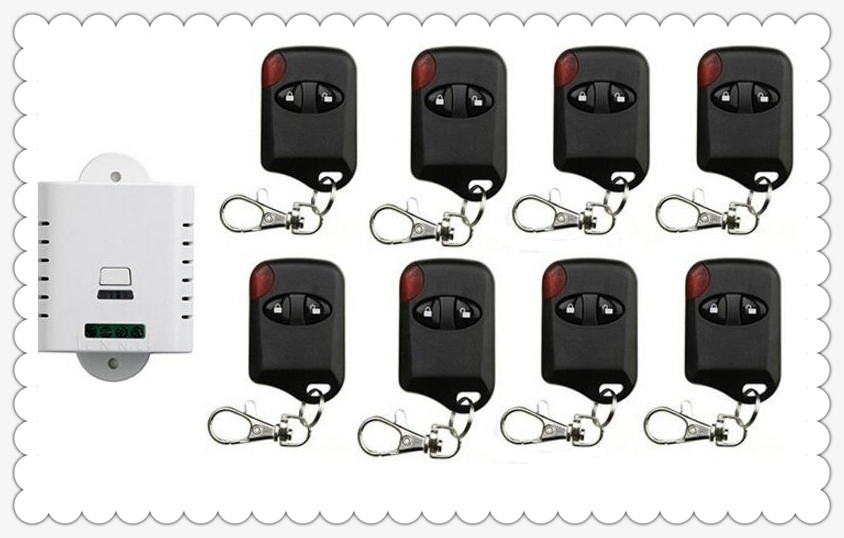 85V 110V 120V 220V 250V 1CH Wireless Remote Control Switch Receiver + 8pcs cat eye Transmitters for Appliances Gate Garage Door black 2key 85v 110v 250v 1ch wireless remote control switch 1 receiver 4 transmitters for appliances gate garage door