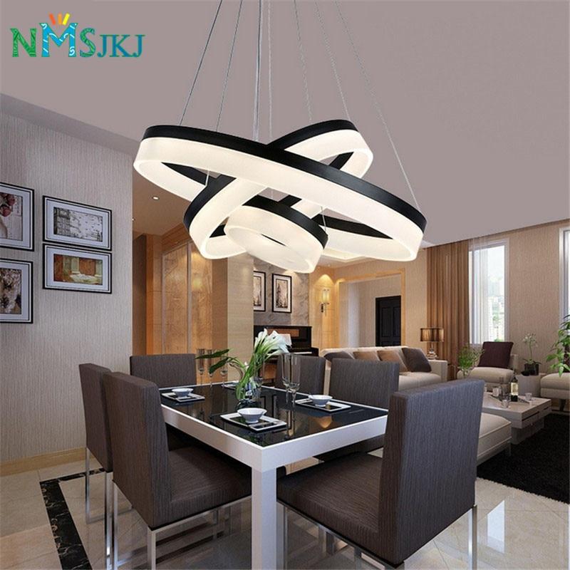 Modern Two Rings LED Pendant Light Arcylic LED ring Suspension Light