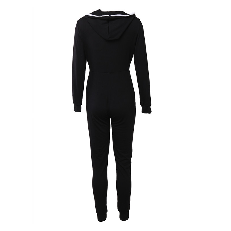 2018 Casual Women One Piece Outfits Jumpsuits Long Sleeve Bodycon Front Zipper Hooded Long Pants Sexy Black Red Rompers Playsuit