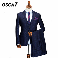 OSCN7 Casual Wool Blue Print Customized Men Suit 2018 Fashion Wedding Party Custom Made Suit Men 3 Pieces Jacket Pant Vests