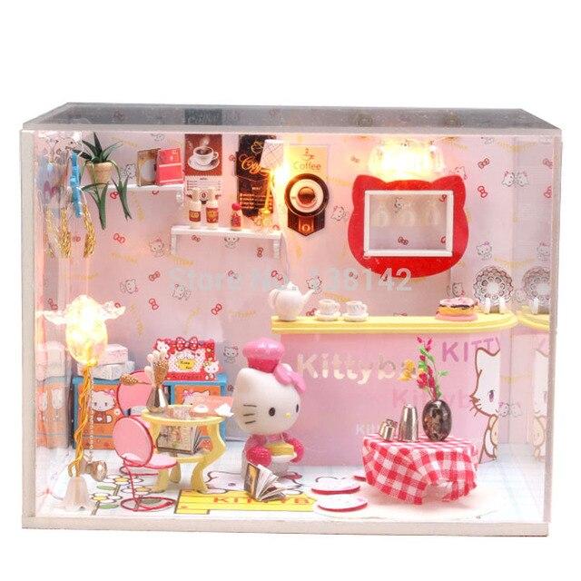 M005 cartoon diy dollhouse miniature doll house wooden voice led light doll house room free shipping