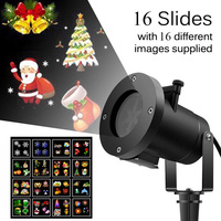 15W Christmas Snowflake Projector LED Lamp Waterproof Lighting Festival Decor Night Light Projection with 16 Pattern Slides