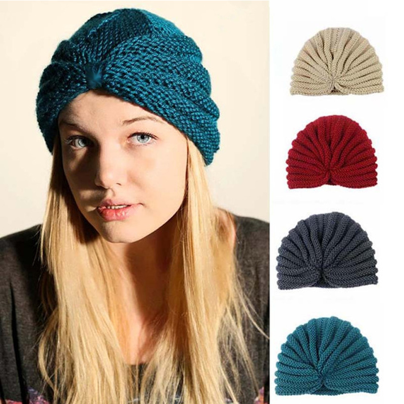 Muslim Winter Hat Warm Wool Cross Knit Cap Beanie Sleep Chemo Turban   Headwear   Cancer Patients Hair Accessories